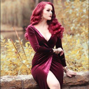 Migeer velvet ankle-length long sleeve dress